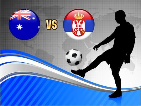 Serbia versus Australia on Blue Abstract World Map Background Original Illustration