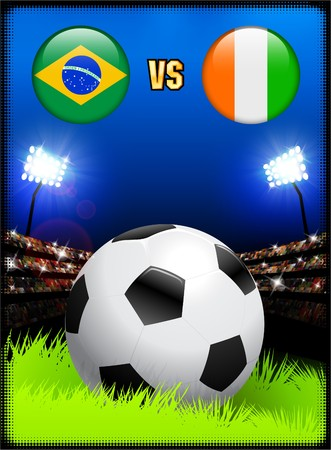 Brazil versus Ivory Coast on Soccer Stadium Event Background Original Illustration illustration