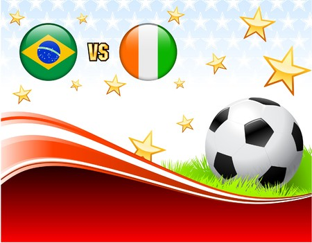 Brazil versus Ivory Coast on Abstract Red Background with Stars Original Illustration illustration