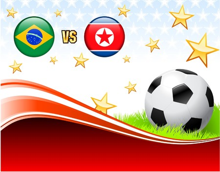 Brazil versus North Korea on Abstract Red Background with Stars Original Illustration