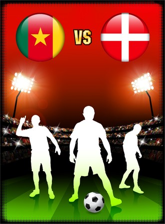 Cameroon versus Denmark on Stadium Event Background Original Illustration illustration