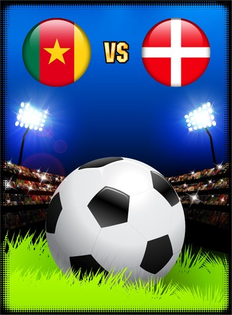 Cameroon versus Denmark on Soccer Stadium Event Background Original Illustration illustration