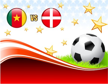 Cameroon versus Denmark on Abstract Red Background with Stars Original Illustration illustration