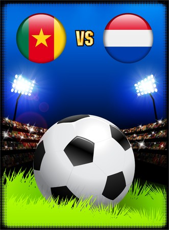 Cameroon versus Netherlands on Soccer Stadium Event Background