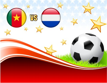 Cameroon versus Netherlands on Abstract Red Background with Stars Original Illustration illustration