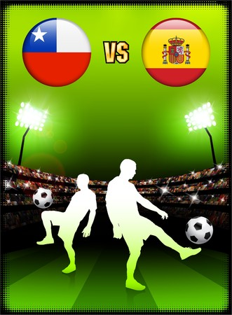 Chile versus Spain on Stadium Event Background Original Illustration illustration