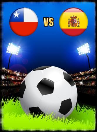 サッカー スタジアム イベント背景にスペイン対チリ オリジナル イラスト 写真素材