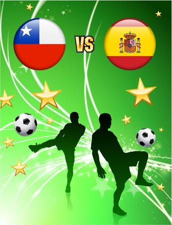 Chile versus Spain on Abstract Green Stars Background Original Illustration illustration