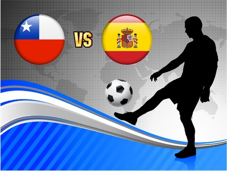 Chile versus Spain on Blue Abstract World Map Background Original Illustration Stock Photo