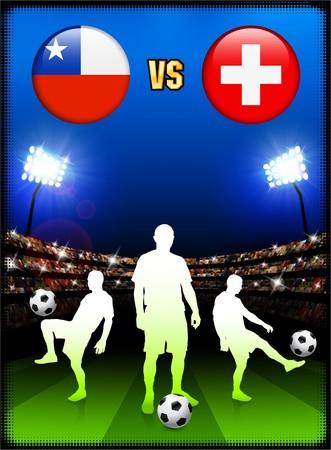 Chile versus Switzerland on Stadium Event Background Original Illustration