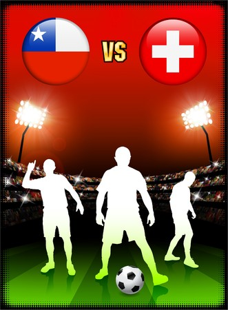 Chile versus Switzerland on Stadium Event Background Original Illustration illustration