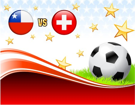Chile versus Switzerland on Abstract Red Background with Stars Original Illustration Stock Photo