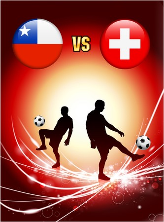 Chile versus Switzerland on Abstract Red Light Background Original Illustration