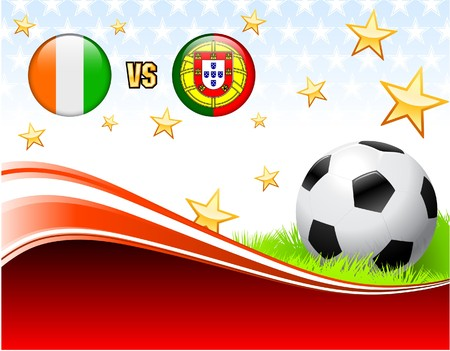 Ivory Coast versus Portugal on Abstract Red Background with Stars Original Illustration illustration