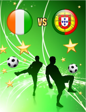 versus: Ivory Coast versus Portugal on Abstract Green Stars Background Original Illustration Stock Photo