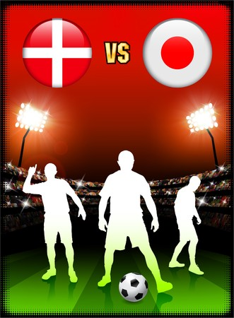 Denmark versus Japan on Stadium Event Background Original Illustration illustration
