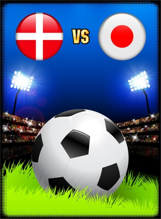 Denmark versus Japan on Soccer Stadium Event Background Original Illustration illustration