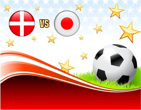 Denmark versus Japan on Abstract Red Background with Stars Original Illustration illustration