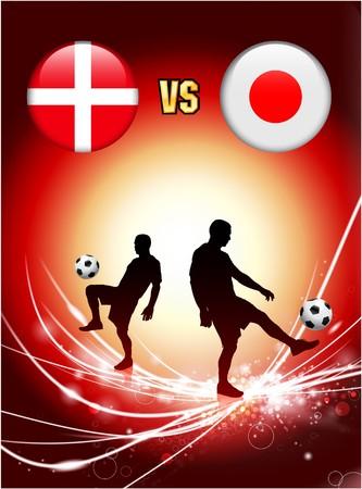 Denmark versus Japan on Abstract Red Light Background Original Illustration illustration