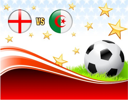 England versus Algeria on Abstract Red Background with Stars Original Illustration illustration