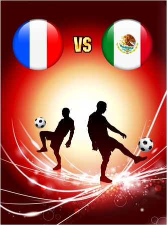 France versus Mexico on Abstract Red Light Background Original Illustration illustration