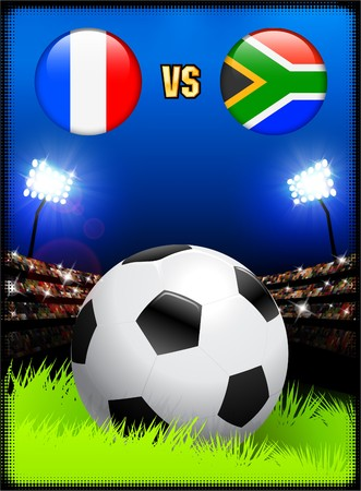 France versus South Africa on Soccer Stadium Event Background Original Illustration illustration