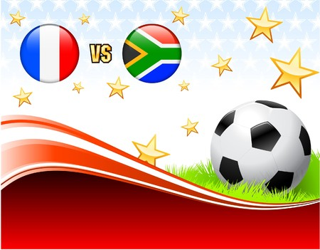 France versus South Africa on Abstract Red Background with Stars Original Illustration illustration