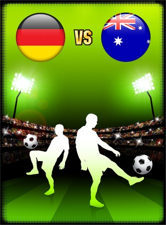 Germany versus Australia on Stadium Event Background Original Illustration illustration