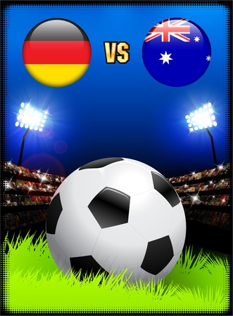 Germany versus Australia on Soccer Stadium Event Background Original Illustration illustration