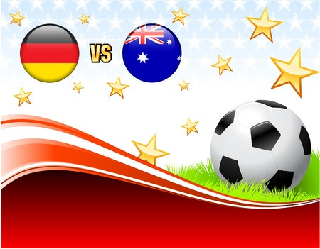 Germany versus Australia on Abstract Red Background with Stars Original Illustration illustration