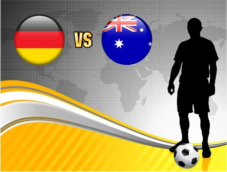versus: Germany versus Australia on Abstract World Map Background Original Illustration