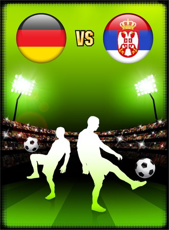 Germany versus Serbia on Stadium Event Background Original Illustration Imagens