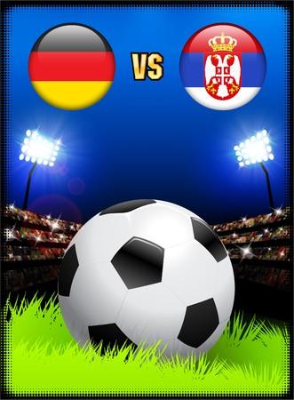 Germany versus Serbia on Soccer Stadium Event Background Original Illustration
