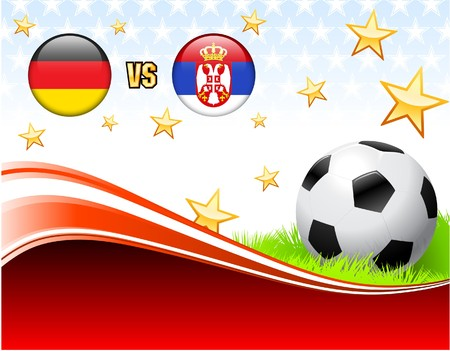 Germany versus Serbia on Abstract Red Background with Stars Original Illustration Imagens