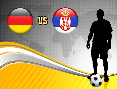 Germany versus Serbia on Abstract World Map Background Original Illustration
