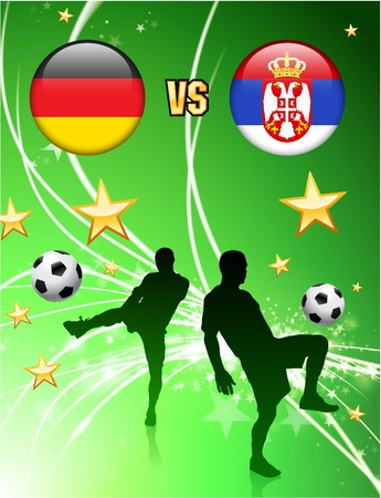 Germany versus Serbia on Abstract Green Stars Background