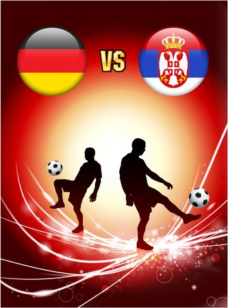 Germany versus Serbia on Abstract Red Light Background Original Illustration