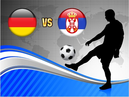 Germany versus Serbia on Blue Abstract World Map Background Original Illustration