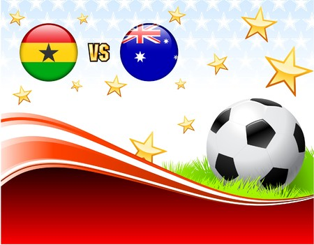 Ghana versus Australia on Abstract Red Background with Stars Original Illustration illustration