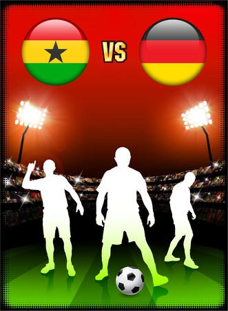 Ghana versus Germany on Stadium Event Background Original Illustration illustration