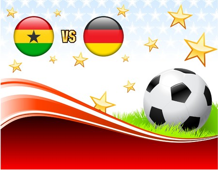 Ghana versus Germany on Abstract Red Background with StarsOriginal Illustration Stock Illustration - 7137003