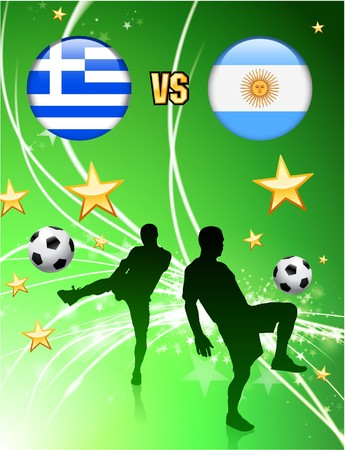 versus: Greece versus Argentina on Abstract Green Stars Background Original Illustration