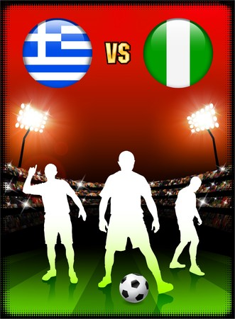 Greece versus Nigeria on Stadium Event Background Original Illustration illustration