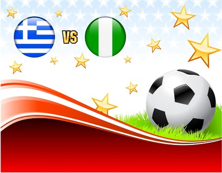 Greece versus Nigeria on Abstract Red Background with Stars Original Illustration illustration