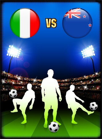 Italy versus New Zealand on Stadium Event Background Original Illustration illustration