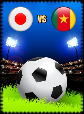 Japan versus Cameroon on Soccer Stadium Event Background Original Illustration illustration