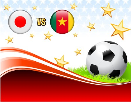 Japan versus Cameroon on Abstract Red Background with Stars Original Illustration illustration