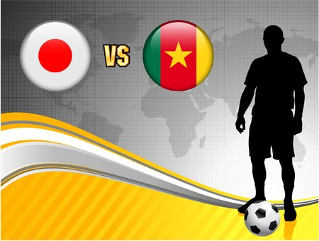 cameroon: Japan versus Cameroon on Abstract World Map Background Original Illustration
