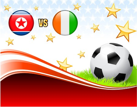 North Korea versus Ivory Coast on Abstract Red Background with Stars Original Illustration Stok Fotoğraf