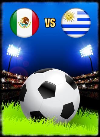 Mexico versus Uruguay on Soccer Stadium Event Background Original Illustration